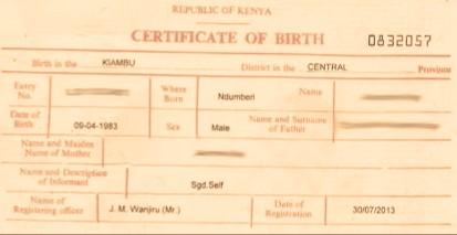 A Kenyan Birth Certificate