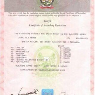 Kenya certificate of secondary education (KCSE)