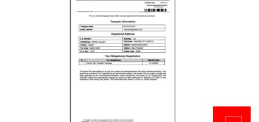 KRA PIN Certificate
